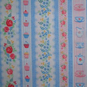 Pears and apples green stripe food kitchen Michael Miller  fabric